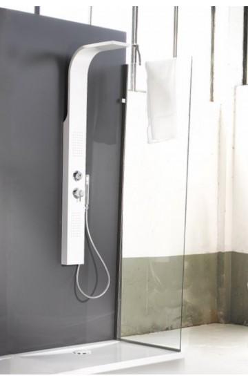 Set pannello doccia mezzo totem in acciaio inox bianco - Crio