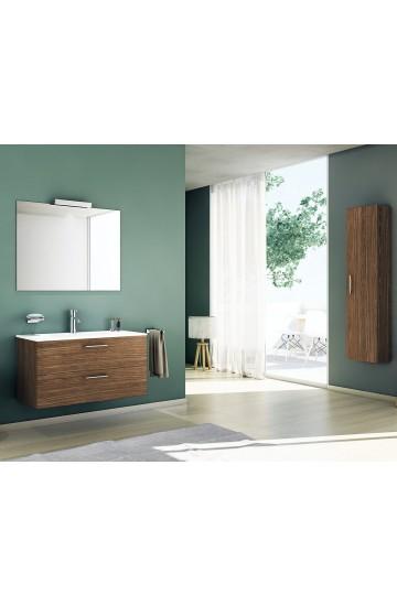 Freddi Basic Mobile 70x46x48 cm con due cassetti,lavabo in ceramica e specchio filolucido con lampada a led