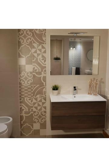 Mobile da bagno da 95cm a due cassetti + lavabo in ceramica e specchio rettangolare con lampada led
