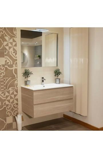 Mobile bagno Skin da 95cm a due cassetti + lavabo in ceramica e specchio con lampada led