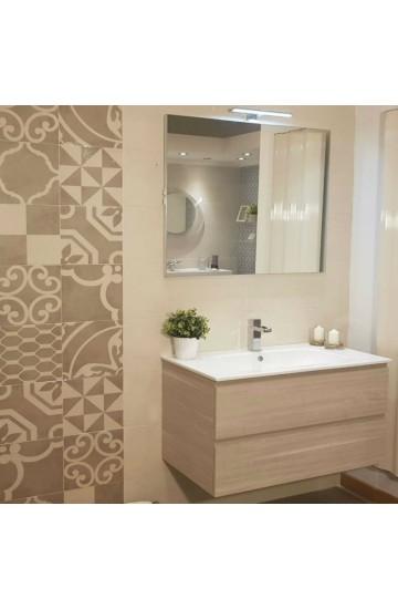 Mobile bagno Skin da 85cm a due cassetti + lavabo in ceramica e specchio con lampada led