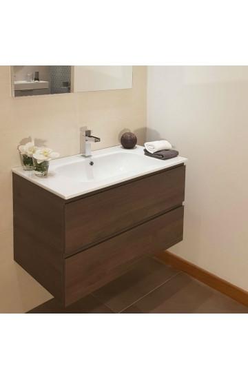 Mobile bagno finitura Eastwood da 85 cm a due cassetti + lavabo in ceramica e specchio con lampada led