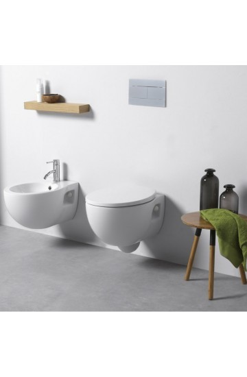 Sanitari sospesi in ceramica bianco vaso wc + bidet con sedile copriwc soft close kerasan bit