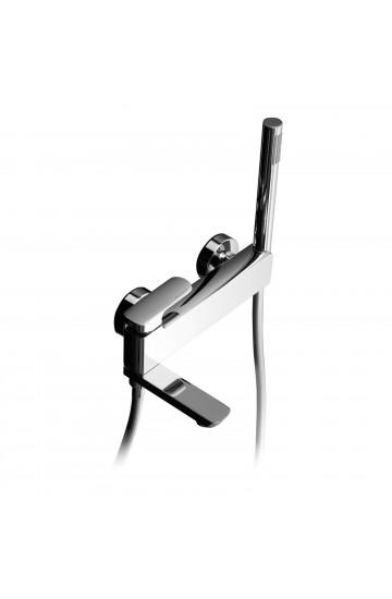 Palazzani MIS - Miscelatore monocomando per vasca con bocca-deviatore, supporto doccia integrato con flessibile Gliss 1,5 m e doccetta
