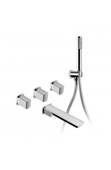Palazzani MIS - Kit per vasca con rubinetti da incasso con doccetta