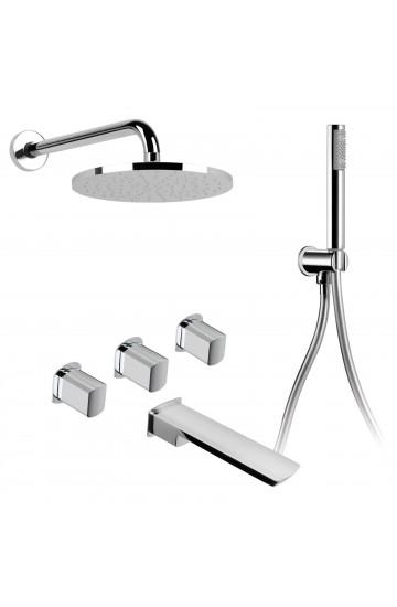 Palazzani MIS - Kit per vasca con rubinetti da incasso con doccetta e soffione