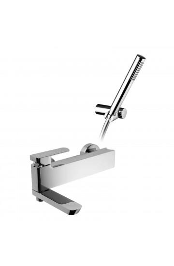 Palazzani MIS - Miscelatore monocomando per vasca con bocca-deviatore con supporto doccia integrato incluso supporto doccia orientabile flessibile Gliss e doccetta