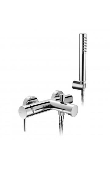 Palazzani DIGIT - Miscelatore monocomando per vasca con deviatore, supporto doccia fisso, flessibile 1,5 m e doccetta