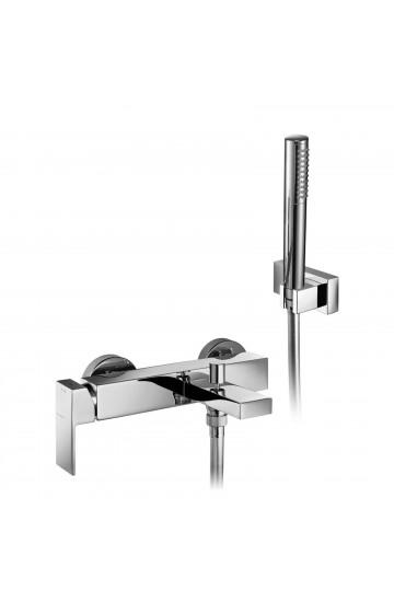 Palazzani QADRA - Miscelatore monocomando per vasca con deviatore, supporto doccia orientabile, flessibile Gliss 1,5 m e doccetta