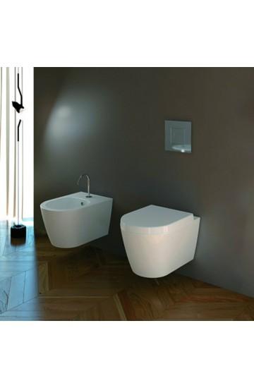 Sanitari sospesi in ceramica bianco bidet e vaso senza brida con copriwc avvolgente soft close Foglia Medium Domus Falerii