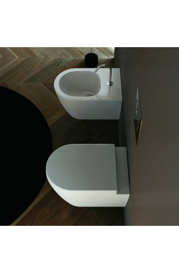 Sanitari sospesi in ceramica bianco vaso e bidet con copriwc soft close Foglia Medium Domus Falerii
