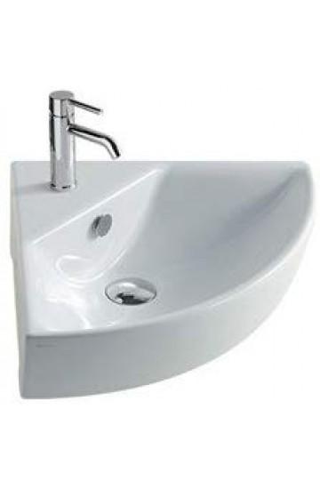 Lavabo monoforo cm 45x45x14 angolare sospeso in ceramica bianca arredo bagno Galassia M2