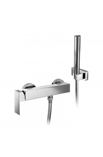 Palazzani QADRA - Miscelatore monocomando per doccia con supporto doccia orientabile, flessibile Gliss 1,5 m e doccetta