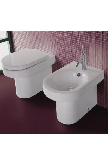 Sanitari filo muro in ceramica bianco vaso wc + bidet con sedile copriwc a sgancio rapido Hatria Daytime