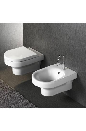 Sanitari sospesi in ceramica bianco vaso wc + bidet con sedile copriwc a sgancio rapido Hatria Daytime