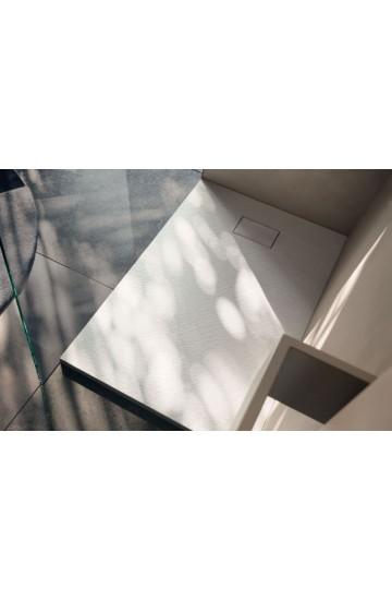 Piatto doccia effetto pietra colore bianco 80x150 sagomabile Stone Essence Slim