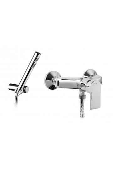Palazzani QI - Miscelatore monocomando per doccia con supporto doccia orientabile, flessibile 1,5 m e doccetta