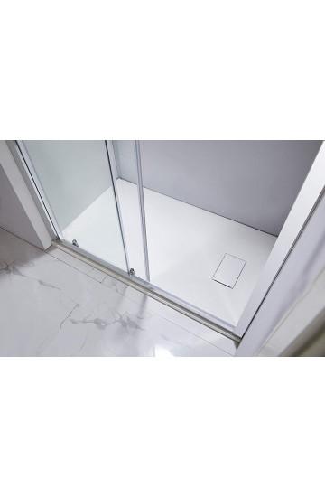 Piatto doccia effetto pietra colore bianco 80x170 sagomabile Stone Essence Slim