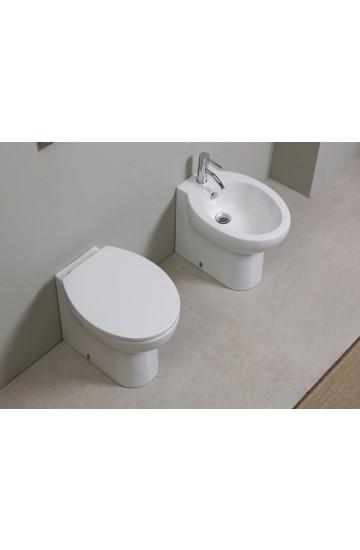 Sanitari filo muro in ceramica bianco vaso wc + bidet con sedile copriwc soft close Kerasan Bit