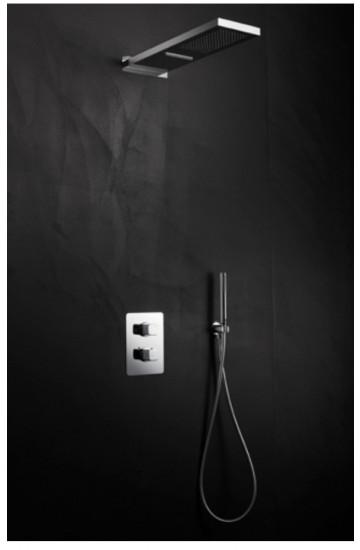 Kit doccia 3 uscite con miscelatore doccia termostatico, soffione con cascata, supporto doccetta con flessibile Acquaclima Palazzani