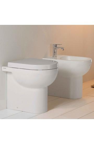 Sanitari Filomuro senza brida in ceramica bianco vaso wc + bidet con sedile copriwc soft close Althea Soul
