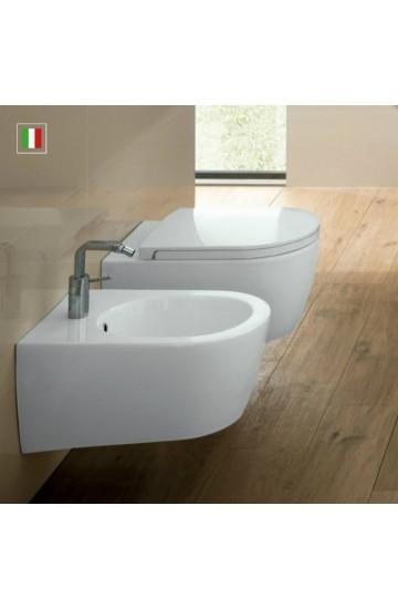 Sanitari sospesi vaso wc + bidet con sedile copriwc soft close sgancio rapido Hatria Fusion