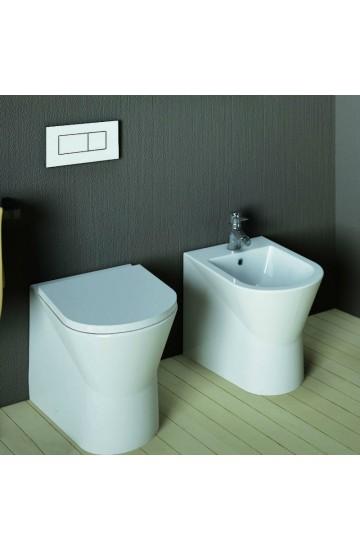 Sanitari Filo Muro SANINDUSA URBY COMPACT: wc + bidet ceramica bianco  + copriwater