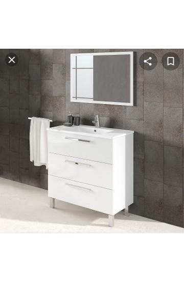 Mobile bagno in materiale maleminico  con base 3 cassetti con piedini,lavabo consolle in ceramica e specchio-Albert Bianco Lucido  cm 86x80x45