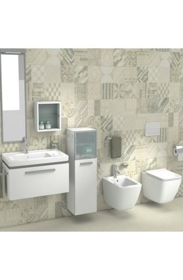 Sanitari sospesi wc water + bidet ceramica bianco JIKA by Laufen Cubito Pure con sedile rallentato