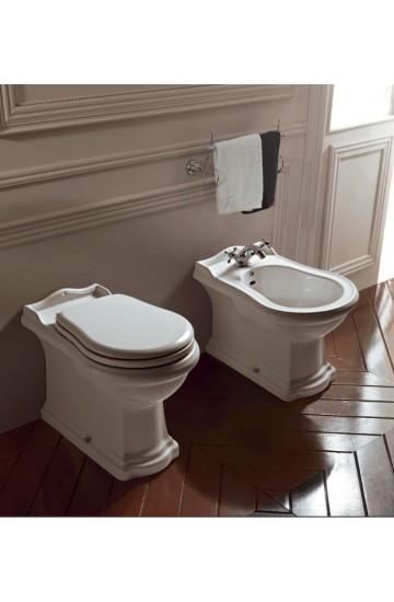 Sanitari tradizionali filomuro in ceramica bianco vaso wc + bidet con sedile copriwc Kerasan Retrò
