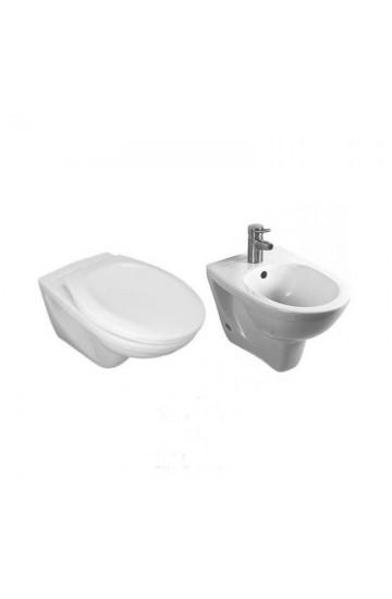 Sanitari sospesi wc water + bidet ceramica bianco Jika by Laufen Dino con sedile in termoindurente