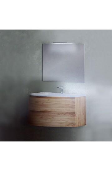 Composizione Completa di base porta lavabo Sospesa verso DX/SX  e specchio con luce a led -Global Trade Ecocircle92