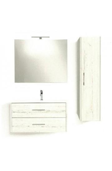 Composizione Completa di base porta lavabo Sospesa ,specchio con luce a led e colonna-Global Trade Ecoslim 91