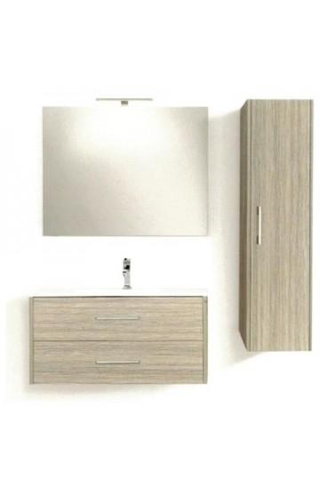 Composizione Completa di base porta lavabo Sospesa ,specchio con luce a led e colonna-Global Trade Ecoslim 71