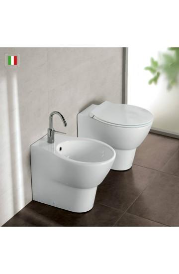 Sanitari filo muro in ceramica bianco vaso wc + bidet con sedile copriwc slim a sgancio rapido Hatria Nido
