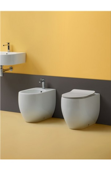 Sanitari filo muro in ceramica bianco vaso wc + bidet  Kerasan FLO 52