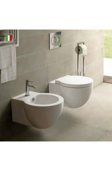 Sanitari sospesi in ceramica bianco vaso wc e bidet con sedile copriwc soft close termoindurente Easy Bath Evo Cielo
