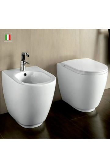 Sanitari filo muro BIANCO OPACO vaso + bidet con copriwc soft close sgancio rapido Hatria Fusion