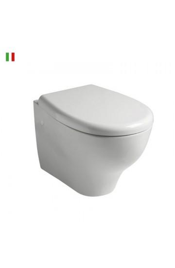 Vaso sospeso senza brida in ceramica bianco con sedile copriwc soft close Galassia Eden