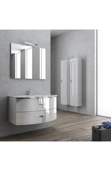 Ginevra Curvo 91cm Composizione Bagno Completa con colonna e specchio illuminato