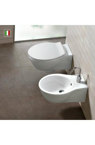 Sanitari sospesi in ceramica bianco vaso wc + bidet con sedile copriwc slim a sgancio rapido Hatria Nido