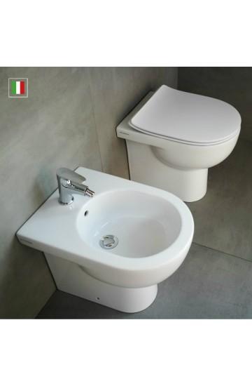 Sanitari filo muro FLAMINIA QUICK: wc + bidet con sedile termoindurente slim rallentato