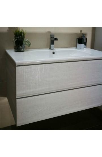 Mobile da bagno Platino da 95cm a due cassetti + lavabo in ceramica e specchio rettangolare con lampada led