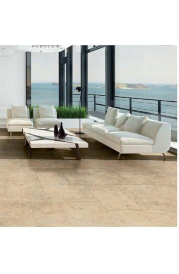 Pavimento per interni effetto pietra in gres porcellanato Beige 45x45 - La Fenice Murge