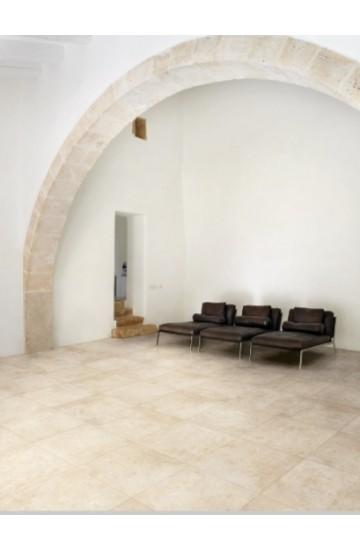 Pavimento per interni effetto pietra in gres porcellanato Bianco 45x45 - La Fenice Murge