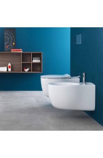 Sanitari sospesi vaso wc rimless + bidet con sedile copriwc soft close a sgancio rapido Hatria Le Fiabe