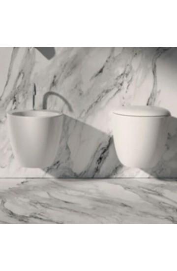 Sanitari Sospesi wc e bidet in ceramica bianco con sedile copriwc soft close Mascalzone Domus Falerii Kit fissaggi a scomparsa inclusi