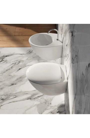 Sanitari Sospesi wc e bidet in ceramica bianco con sedile copriwc Mascalzone Domus Falerii Kit fissaggi a scomparsa inclusi