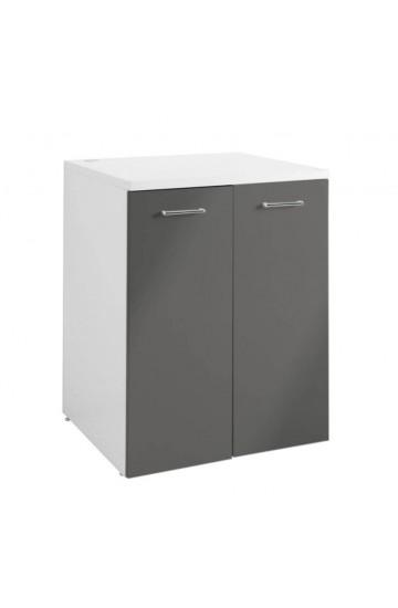 Mobile contenitore per lavatrice 70x90 Grigio Antracite Lucido con Maniglie Cromate - COLAVENE