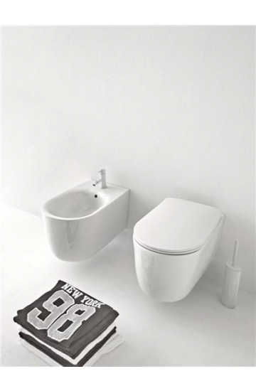 Sanitari sospesi in ceramica bianco vaso wc + bidet con sedile copriwc soft close kerasan Nolita
